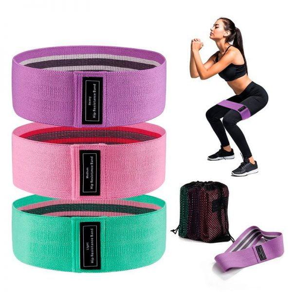 Pack 3 Bandas Elasticas Tela Alta Resistencia Pilates Fitness
