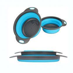 Colador Plegable de Silicona Confeccionado de material de silicona de grado alimenticio, es seguro a uso . antiadherente duradero y fácil de limpiar.